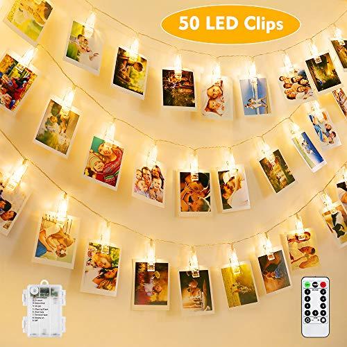 BrizLabs LED Foto Clips Lichterkette für Zimmer, 50 LED Fotoclips Lichter Batteriebetrieben 8 Modi Wasserdicht mit Fernbedienung Bilderrahmen Deko für Innen, Haus, Weihnachten, Hochzeit, Schlafzimmer
