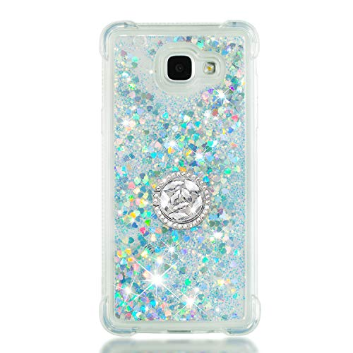 ZCXG Kompatibel Mit Handyhülle Samsung Galaxy A5 2016 Hülle Silikon Transparent Glitzer Stoßfest Slim Liquid Hülle mit Ring Strass Diamant Kratzfest Flexibles Schutzhülle TPU Bumper Case,Silber