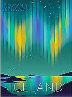 ERZANメタルポスター壁画ショップ看板ショップ看板アイスランドオーロラレトロ旅行広告インテリア 看板20x30cm