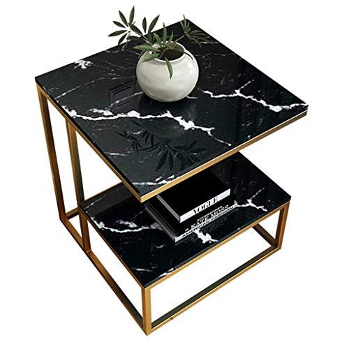 Mesas, decoración del hogar, mesa auxiliar cuadrada Niture, mesita de noche, mesa de centro con almacenamiento de 2 niveles, tapa con efecto de mármol y marco de metal, 45 x 45 x 50 cm, color blanco
