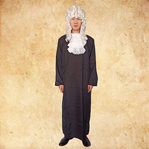 Advocaat Europese Middeleeuwse rechter Zwarte Advocaat Jurk Stage Kostuum Verhuur, Huur een Dag, Kleding Kraag + Hoofd Cover [158-170cm]