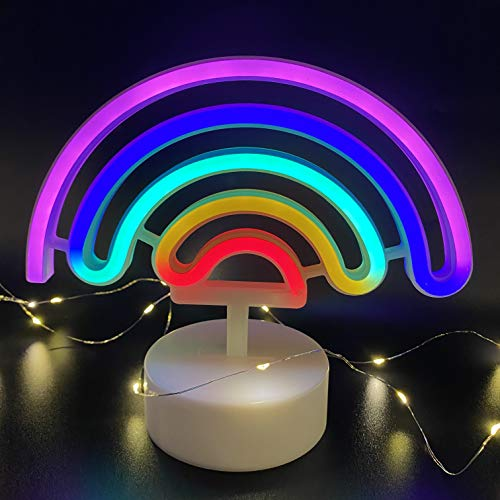 Rainbow Neon Light Coopark LED Glowing Night Lamp Stand with Base for Home Bedroom Decoration Party Supplies, Cool Christmas Birthday Neon Sign Gift for Kid Boy Girl
