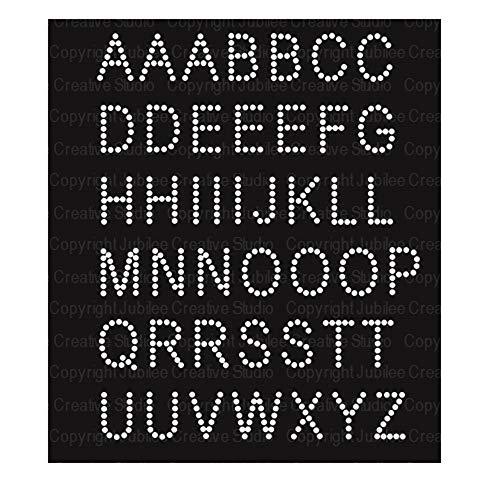 JCS Rhinestones Basic Alphabet Iron On Rhinestone Crystal Transfer