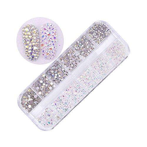MUUZONING 3D StrassVerschiedene formen für Nail Art Dekorationen,Lange Box Nail Perlen Glitter Kristalle Nagel Dekoration Großer Edelstein:#2