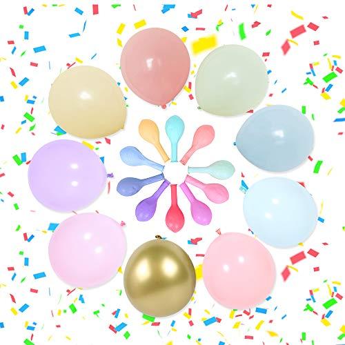 VCOSTORE Latex Luftballons Pastell, 90 Stück Macaron Candy Coloured Latex Party Luftballons und Latex Metallic Luftballons für Party Dekoration