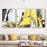 Carteles e impresiones artísticos Cuadros de pared negros amarillos abstractos Pinturas de lienzo nórdicas para la sala de estar Decoración del hogar Hogar 50x80cmx3pcs Sin marco