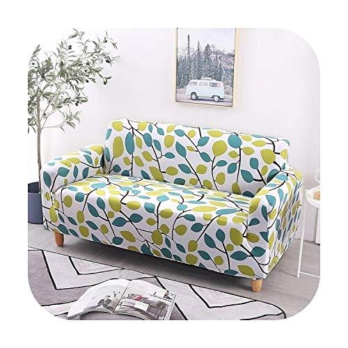 Sofacover - Funda elástica para sofá (funda de sofá de flores, función seccional), Verde, 90-140cm