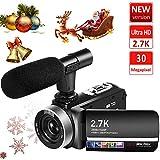 ビデオカメラ デジタルカメラ FHD 2.7K 30MP 18倍デジタルズーム 外付けマイク IR夜視機能 SDカード(最大128GB) サポート128GBカード対応 予備バッテリーあり 3.0インチタッチモニター