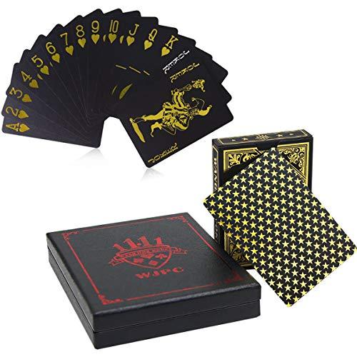Lareina.C Wasserdichtes Poker Karten- Playing Cards Plastic Geschenkbox Premium Kartenspiel aus Kunststoff Schwarz Gold Magic Kartendeck