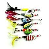 Alftek 6 Piezas metal de la cuchara señuelos de pesca curricán...