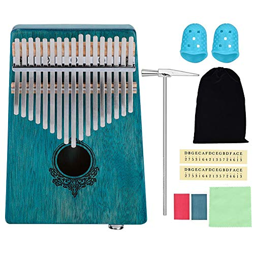 Dilwe 17 Tasten Finger Klavier, Mahagoni Tragbares Kalimba Pocket Size Piano mit Eingebautem Pickup für Anfänger(Minzgrün) …