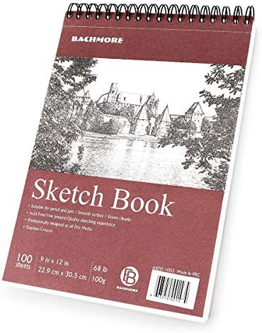 Bachmore Sketchpad 9X12 Inch 68lb 100g 100 Sheets of TOP Spiral Bound Sketch Book for Artist product image