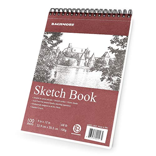 Bachmore Sketchpad 9X12quot Inch 68lb/100g 100 Sheets of TOP Spiral Bound Sketch Book for Artist Pro amp Amateurs | Marker Art Colored Pencil Charcoal for Sketching