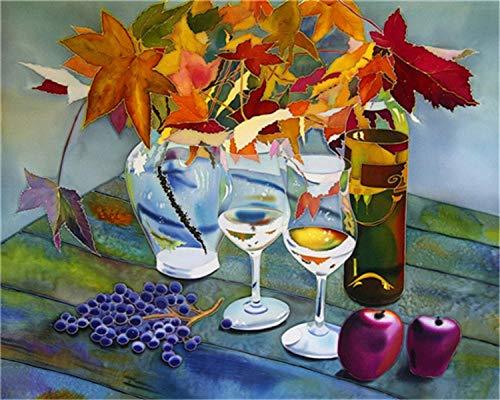 Yqgdss DIY Ölgemälde by Zahlen Wandkunst Stillleben Weinglas Färbung Leinwand Bilder Wohnzimmer Dekor Anfänger Kind Zeichnung Geschenk Unvollendet,40x50cm