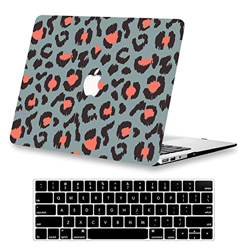 KEROM MacBook Air 13 inch Case 2017-2010 Release A1466/A1369, Plastic Hard Protective Case, Ultra Slim Pattern Case with Keyboard Cover for Older Version MacBook Air 13 without Touch ID, Leopard