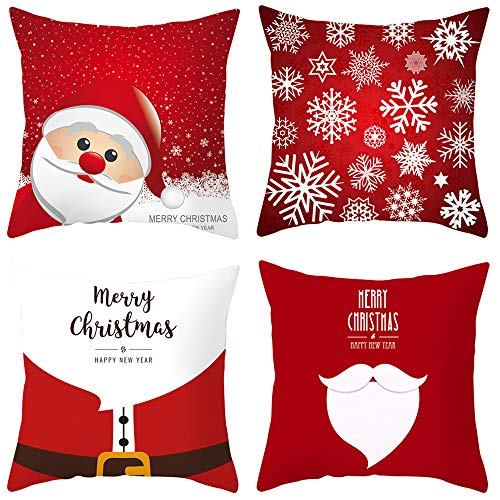 Lim 4 Pack Kerstmis Throw Kussenset Holiday Decor Kussenset Vierkant Decoratieve Kussenset voor Kerstmis Decor at Sofa Bed and Car 18 x 18 inch