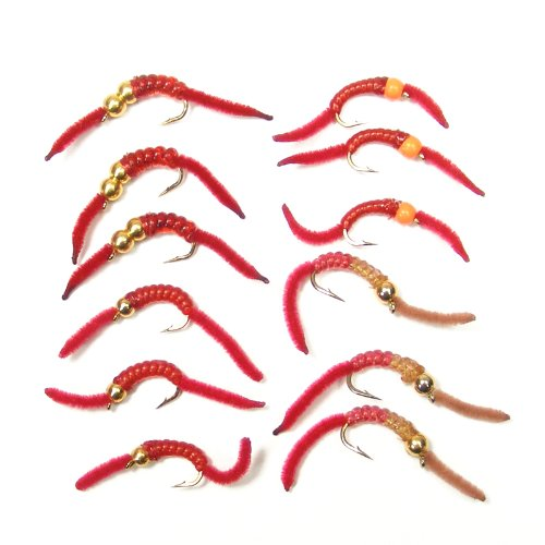 The Fly Fishing Place Trout Fly Assortment - San Juan Worm Power Bead 1 Dozen Wet Nymph Fly Fishing Flies - Hook Size 10-3 Each of 4 Patterns