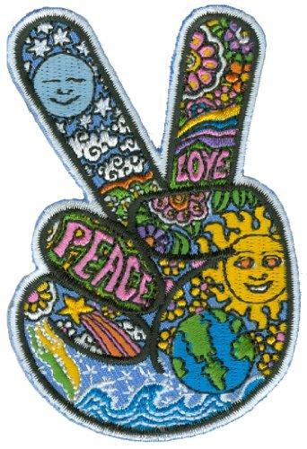 Dan Morris - Celestial Peace Hand Fingers - Embroidered Patch,Blue, Yellow and Green,2.5' x 3.5'