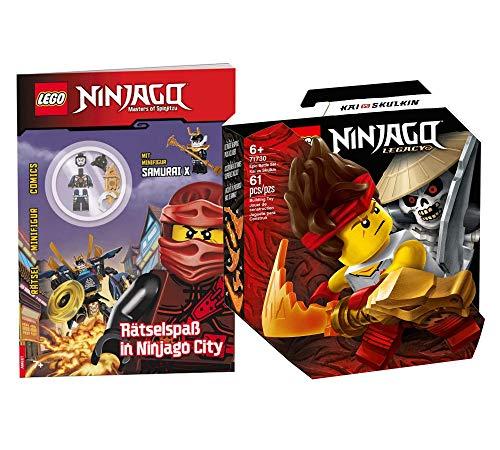 Collectix Lego Set – Ninjago Legacy Battle Set Kai vs Skulkin 71730 + juego de rompecabezas en Ninjago City con minifigura Samurai X (cubierta blanda)