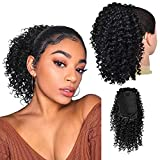 Drawstring Ponytail Afro Kinky Curly Ponytail for Black Women, PEACOCO 10 Inch Synthetic Hairpieces Clip in Jerry Curls Afro Puff Ponytail Extensions ( 1B )