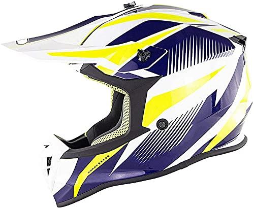 XWW Casco de Motocross Casco de Motocicleta Todoterreno para Adultos, Certificado por Dot/ECE, Casco de protección Integral para niños y jóvenes, Casco de Moto de Descenso MX ATV (56-61 cm)