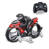 Rc Cars,YF-TOW Rc Car Racing 2-in-1 Land/Air Mode One Key Switch Flying Motorcycle 2.4G RC Drone Quadcopter Fly Gift for Children, Boys and Girls. (Red)