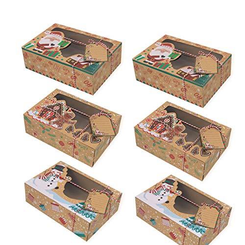 6 Stück Weihnachts-Plätzchen-Boxen mit Fenster und Etiketten, Kraftpapier Weihnachten Lebensmittel Bäckerei Leckereiboxen Lebensmittelverpackung Behälter zum Verschenken