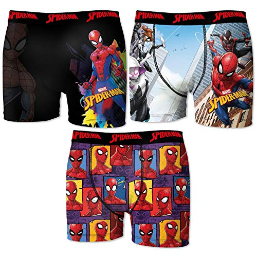 FREEGUN Herren Pk1744-l Set 3 Spiderman Boxer-random-Mikrofaser-92% Polyester, 8% Elasthan, Mehrfarbig, L