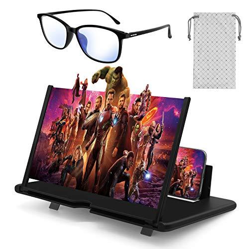 Stay Gold Amplificatore dello Schermo 3D Telefono Cellulare e Occhiali Anti Luce Blu Un Set di Due,Lente Pieghevole HD Portatile 12 Pollici Anti-Radia