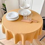XQSSB Manteles Mesa Rectangular Impermeable Sabana de Algodon Decoración de Mesa para Cocina y Comedor Círculo Amarillo Anaranjado Diámetro 200cm