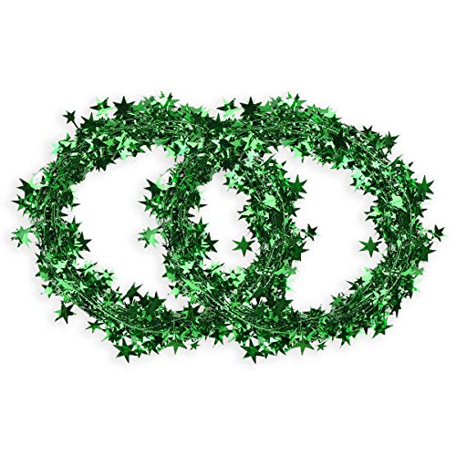 CCINEE 50FT Green Star Tinsel Garlands with Wire,Christmas Star Wire Garland Decorations for Xmas Tree Home Wedding Birthday Day Party Festival Ornament,2 Pack