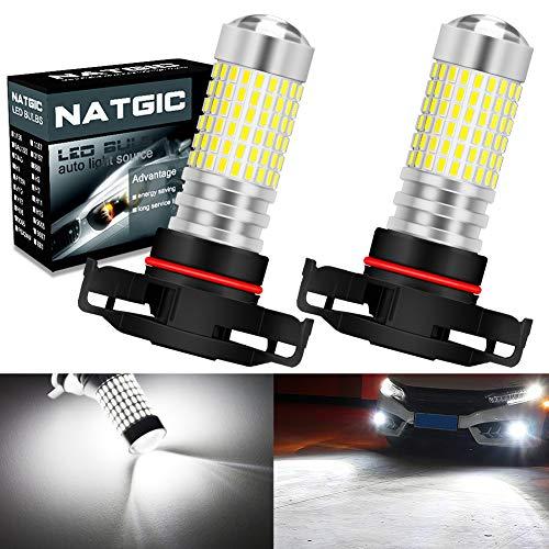 NATGIC H16 5202 Ampoules LED Anti-Brouillard Blanc Xenon 3000LM 3014 SMD 144-EX avec projecteur à lentille pour feu antibrouillard extérieur, 12-24V (Lot de 2)