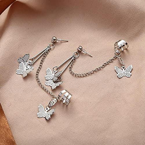 XCWXM Korean style earrings fashion jewelry butterfly tassel earrings double chain earrings-Photo Color