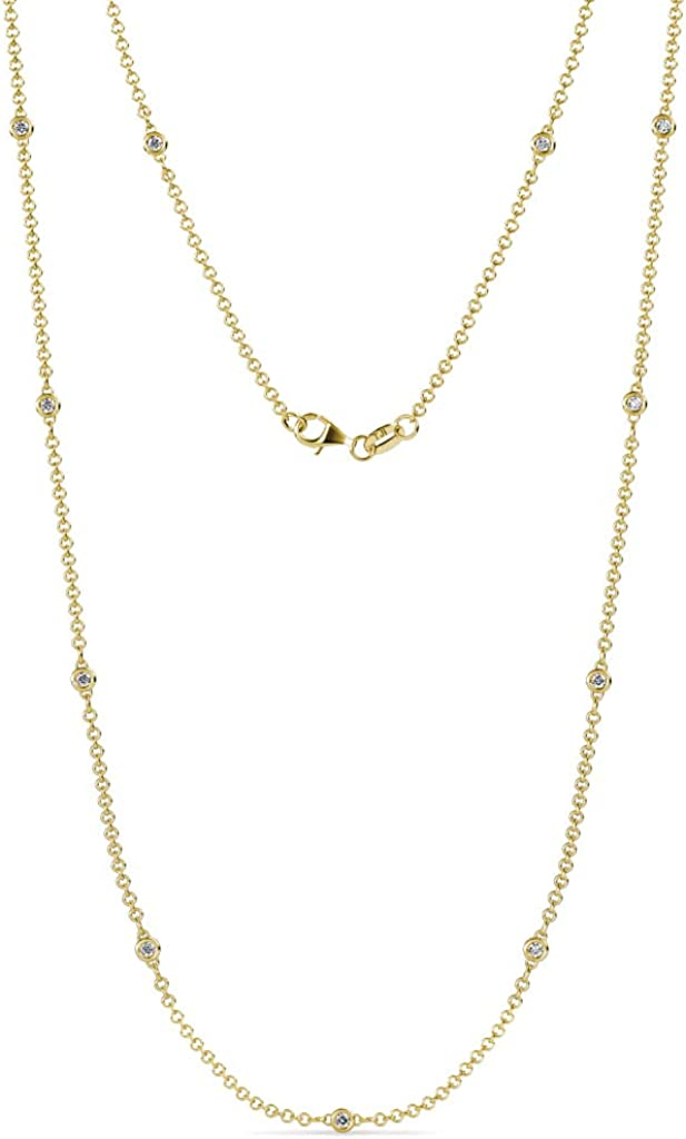 TriJewels 11 Stone Petite Lab Grown Diamond Womens Station Necklace (SI1-SI2, G-H) 0.33 ctw 14K Gold