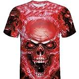 ITISME HOMME TOP Hommes Crâne Impression 3D T-Shirts Chemise à Manches Courtes T-Shirt Chemisiers
