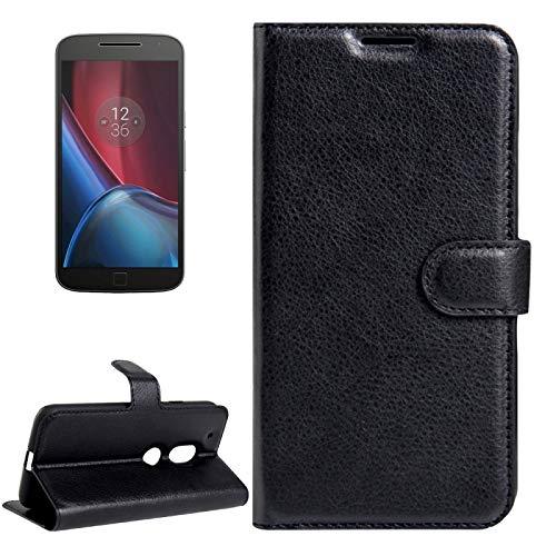 YUNCHAO Caso del teléfono Motorola para Motorola Moto G4 Play Funda de Cuerocon Flip Horizontal de Textura deLitchi con Hebilla magnética y Soporte y Ranura de Tarjetas y Billetera Caja del
