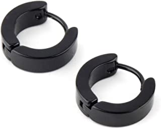 Men Stainless Steel Hoop Piercing Ear Earring Studs Fashion jewelry - Black