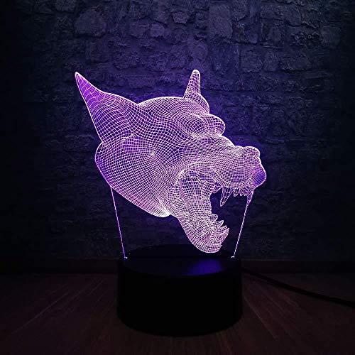 Kerstcadeaus voor jongens 3D dier hoofd hond Lupo 3D LED lamp USB Touch RGB nachtlicht kleurrijk met afstandsbediening