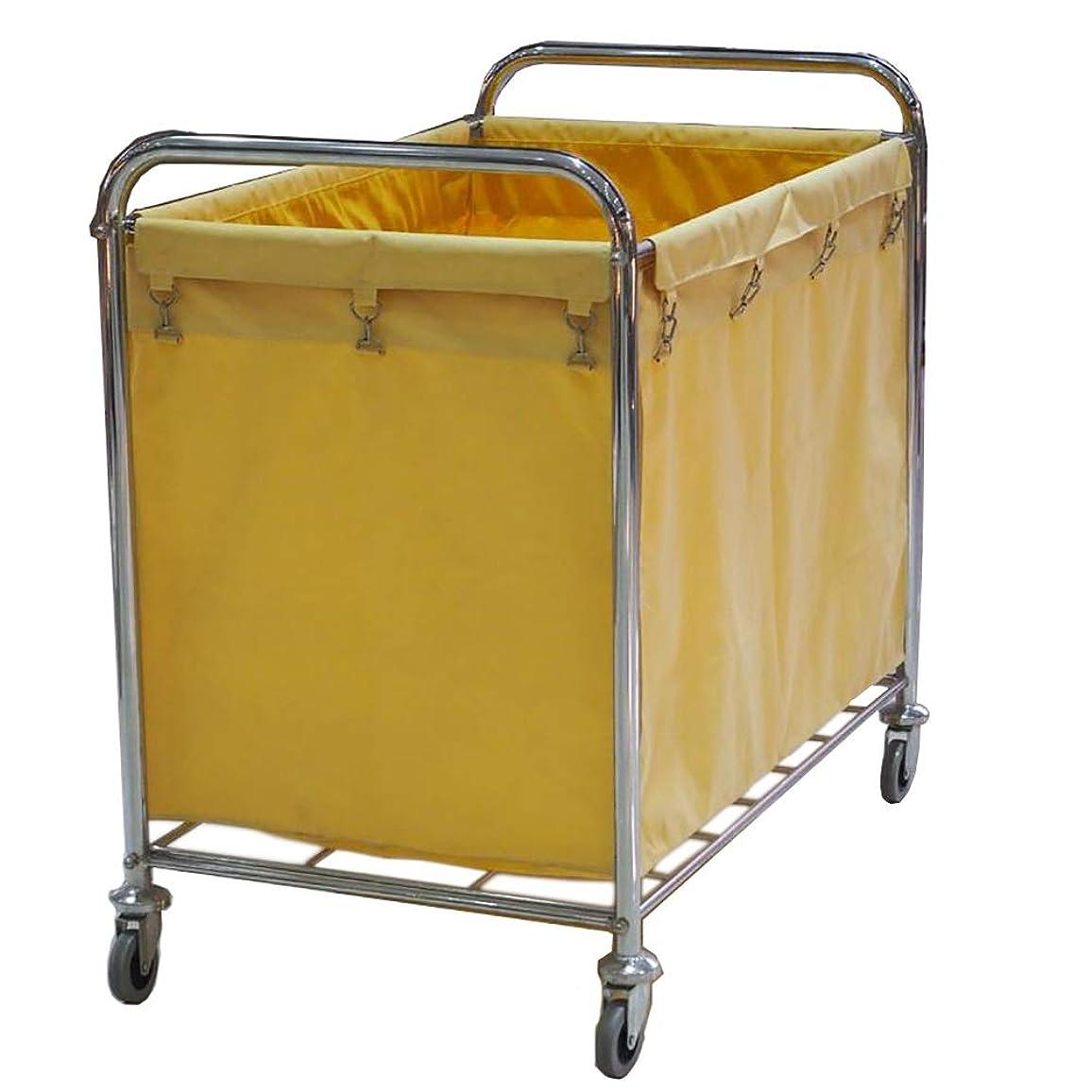 スプーン生産的世界的にヘビーデューティランドリーソーターカート、ユーティリティカートトロリー、サイレントローリングランドリーソーターカートリネン車バッグ付き (Color : Yellow)