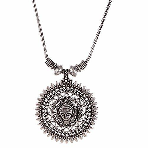 Efulgenz Boho Vintage Antique Ethnic Gypsy Tribal Indian Oxidized Silver Statement Pendant Necklace Jewelry (Style 7)