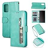 ZTOFERA Samsung A12 Hülle, Magnetisch Folio Flip Wallet Leder Standfunktion Reißverschluss schutzhülle mit Trageschlaufe, Brieftasche Hülle für Samsung Galaxy A12 5G - Minzgrün