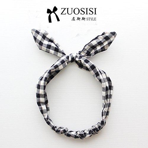 MultiKing hoofdband Parenting haarband Children's Japanse haaraccessoires meisjes baby katoen zwart lattice vorm haarband, L