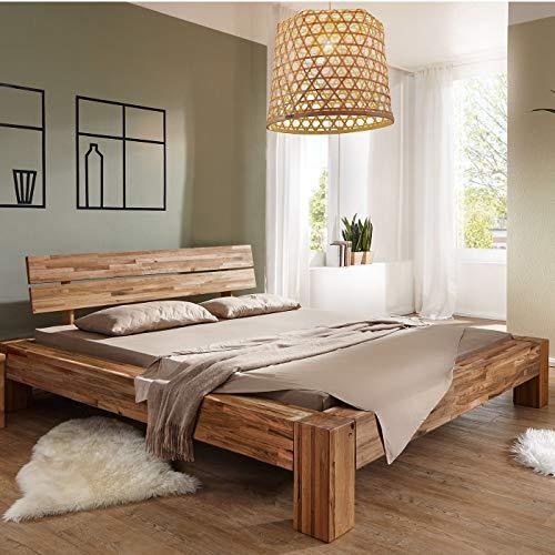 Möbel Akut Massivholzbett Wildeiche massiv geölt parkettverleimt 180x200 Balkenoptik