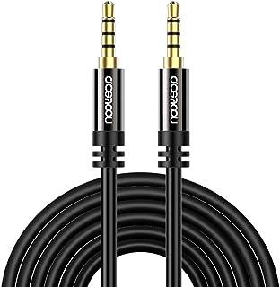 aceyoon Aux Kabel,5M 4 Polige 3.5mm klinkenkabel [Male auf Male] Headset Verlängerungskabel 3.5mm Stereo Audio Klinkenkabel Kompatibel mit Kopfhörer, Auto Stereoanlage, Lautsprecher, MP3 MEHRWEG