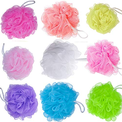 Bath Sponges Shower Sponges 10 Pack Mesh Pouf Scrubbers Bath Sponge Luffa Loufa Body Scrubber Mesh Pouf Shower Ball Men and Women Children Bathing Exfoliating Mesh Pouf Bath Ball Scrubber 10 Pack