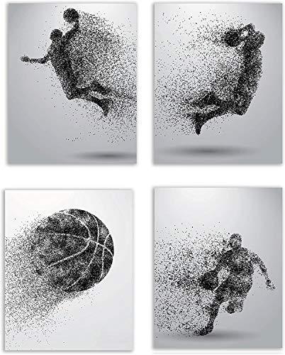123 Life Stampe di Arte della Parete di Pallacanestro in Bianco e Nero - Poster su Tela con sagoma di Particelle per Camera da Letto, Ufficio, Soggiorno, Set di 4 (8x10) Senza Cornice