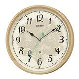 リズム(RHYTHM) 掛け時計 薄茶 Φ32.4x6.1cm 電波 アナログ 連続秒針 メロディ 日本野鳥の会 共同開発 8MN409SR06