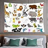 Tapiz de pared,big animal cartoon set,tapiz para colgar en la pared para dormitorio estético como arte de pared y decoración del hogar para el hogar y al aire libre 60*40inch