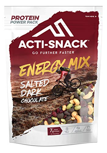 ACTI-SNACK Salted Dark Chocolate Energy Trail Mix Powerpack. Sports Nutrition. Salted Dark Chocolate Almonds and Edamame, Roasted Cashews, Edamame, Cranberries. High in Plant Protein. Vegan. 12 x 175g