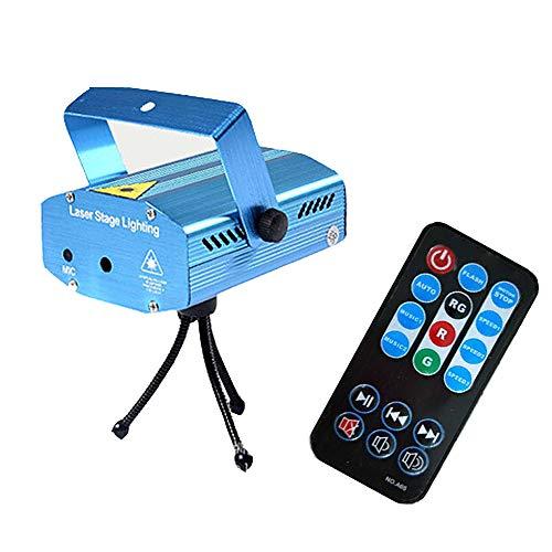 TOPofly Starry Stage Laser-Lampe Fernbedienung Led Bühnenbeleuchtung Mini-Laser-projektor-licht-ton Aktivierte Bühnenbeleuchtung Für Party-dj-Disco-Haus Weihnachten Blau Eu Version